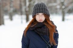 年轻可爱的严肃的红头发人妇女特写镜头美丽的冬天画象在逗人喜爱的被编织的帽子冬天多雪的公园 库存图片