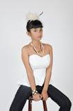 可爱的亚裔十几岁的女孩 免版税图库摄影