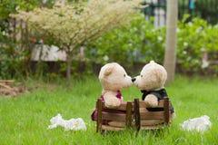 可爱的亲吻玩具熊坐木椅子, l的概念婚礼 免版税库存图片