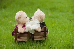 可爱的亲吻玩具熊坐木椅子, l的概念婚礼 库存照片