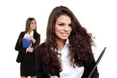 可爱的企业女孩二个年轻人 免版税库存图片