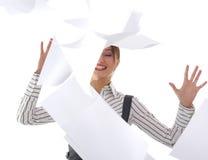 可爱的企业女实业家愉快的woma年轻人 免版税库存图片