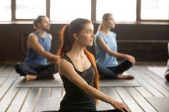 可爱的信奉瑜伽者妇女和一群人在Matsyendrasana 图库摄影