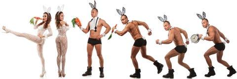 可爱的兔宝宝夫妇 免版税库存照片