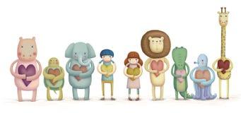 可爱的动物和孩子 库存例证