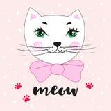 可爱的动画片全部赌注和题字猫叫声 在一个手拉的样式的传染媒介例证 库存照片