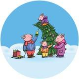 可爱的动画片猪,2019年农历新年的标志 庆祝的小猪快乐地,装饰圣诞树 中国猪 免版税图库摄影