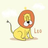可爱的动画片狮子国王 在一个手拉的样式的传染媒介例证 图库摄影