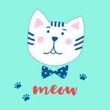 可爱的动画片猫和题字猫叫声 在一个手拉的样式的传染媒介例证 库存图片