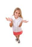 可爱的十几岁的女孩乐趣大角度充分的身体画象有开放棕榈的,被隔绝 免版税库存照片