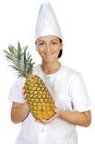 可爱的厨师愉快的妇女 免版税图库摄影