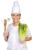可爱的厨师愉快的妇女 免版税库存图片