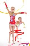 可爱的双女孩体操运动员。 库存照片