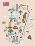 可爱的台湾旅行地图 向量例证