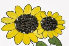 可爱的向日葵的手工制造图片 绘与黄色和绿色树胶水彩画颜料和被胶合的黑种子 在白色背景的艺术 库存图片