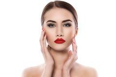 可爱的唇膏红色妇女 库存照片