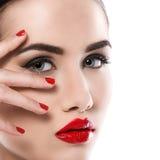 可爱的唇膏红色妇女 库存图片
