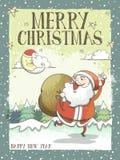 可爱的圣诞快乐贺卡或海报与圣诞老人 图库摄影