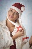 可爱的圣诞节妇女 图库摄影