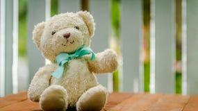 可爱的地毯熊玩偶坐木桌 库存图片