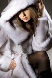 可爱的外套毛皮妇女 库存图片