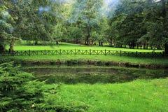可爱的天在有池塘的公园 库存图片