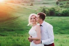 可爱的夫妇、摆在领域的新娘和新郎在日落,生活方式期间 图库摄影
