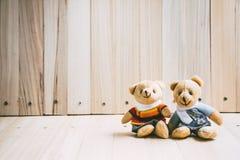 可爱的夫妇容忍熊坐木桌 库存照片