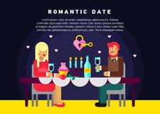 可爱的夫妇浪漫晚餐  库存例证