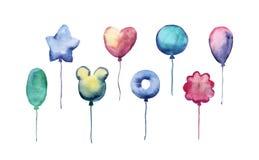 可爱的套水彩气球 免版税库存照片