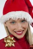 可爱的女孩圣诞老人 库存照片