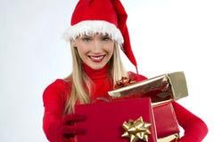 可爱的女孩存在圣诞老人 库存照片