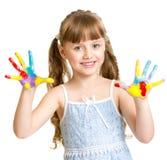 可爱的女孩用绘在明亮的颜色被隔绝的手 库存照片
