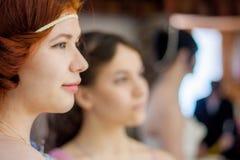 可爱的女孩 秀丽头发的红色 免版税库存照片