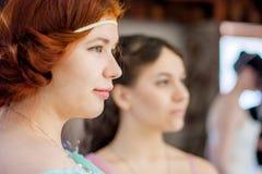 可爱的女孩 秀丽头发的红色 免版税图库摄影