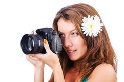 可爱的女性摄影师 免版税库存照片