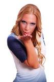 可爱的女性金发碧眼的女人 图库摄影