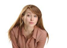 可爱的妇女企业画象有雀斑的 免版税库存照片