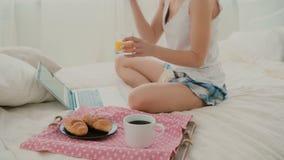 年轻可爱的妇女喝在床上的汁液 浏览互联网的深色的女孩在早餐期间,使用膝上型计算机 库存图片