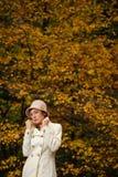 可爱的妇女在夜间秋天公园 图库摄影