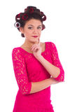 年轻可爱的妇女画象典雅的短的礼服的 免版税库存照片