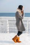 年轻可爱的妇女画象有围巾的在冬天海滩 免版税库存照片