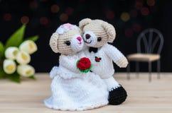可爱的婚礼熊玩偶 库存照片