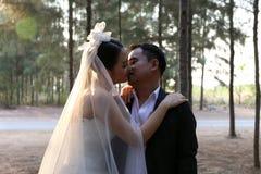 可爱的婚礼礼服的亚裔新娘在杉木森林里亲吻她的新郎 免版税库存照片