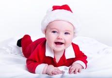 可爱的婴孩圣诞老人 图库摄影