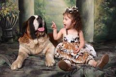 可爱的孩子和她的圣伯纳德小狗 免版税图库摄影