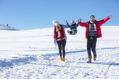 可爱的家庭获得乐趣在山的一个冬天公园 免版税图库摄影