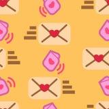 可爱的封缄信片和心脏的形状 样式华伦泰礼物 皇族释放例证