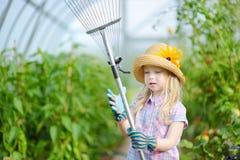 可爱的小女孩佩带的草帽和儿童的使用与她的玩具园艺工具的庭院手套自一间温室在夏日 图库摄影