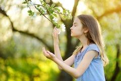 可爱的小女孩在开花的苹果树庭院里在美好的春日 免版税库存照片
